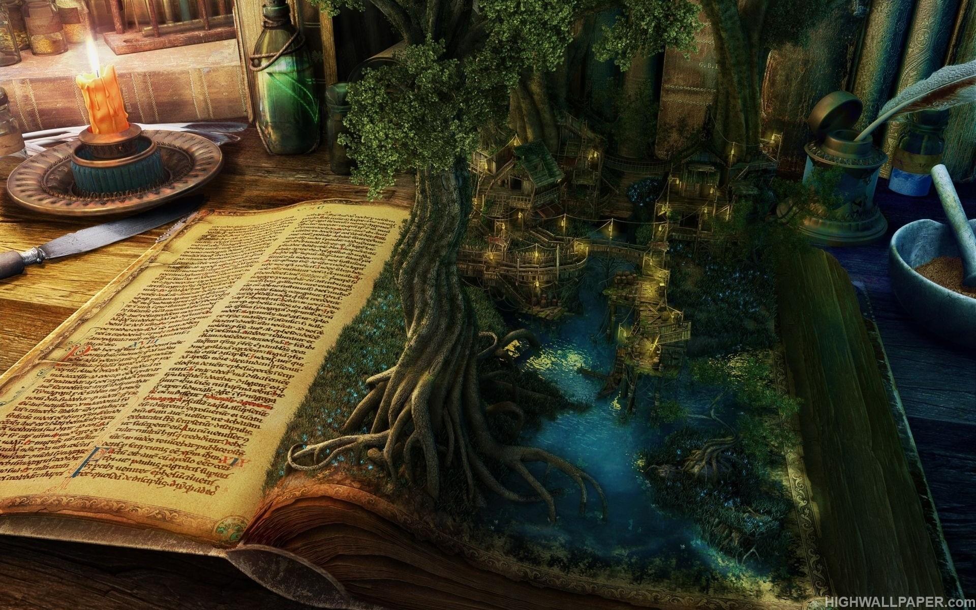 Fantasy Book Tree and City