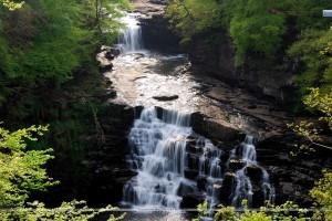 Far View Scene Of A Waterfall