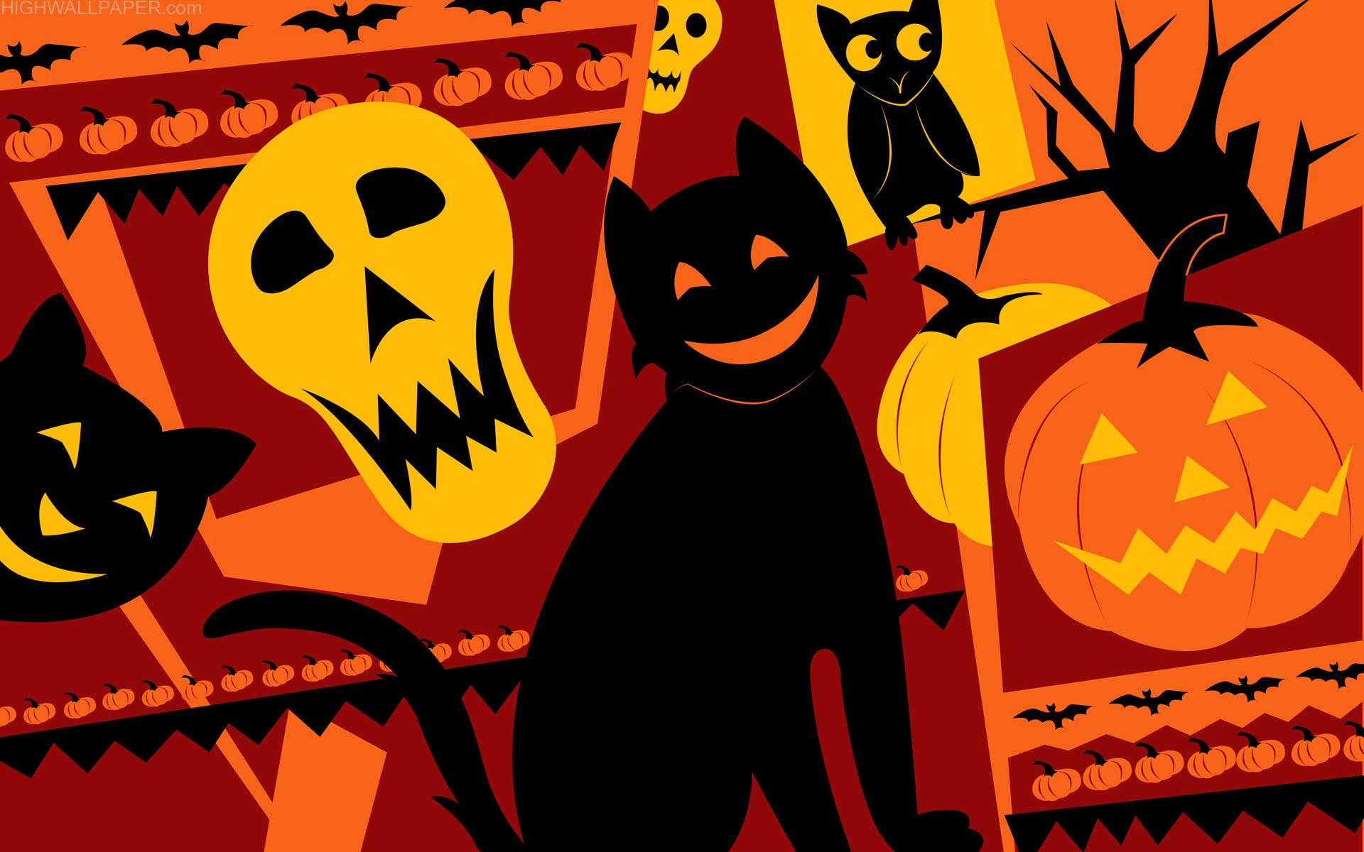 Laughing Skull Cat Pumpkin and Owl