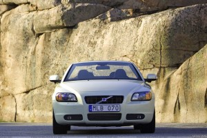 Front Pose Of 2009 Volvo C70 In White