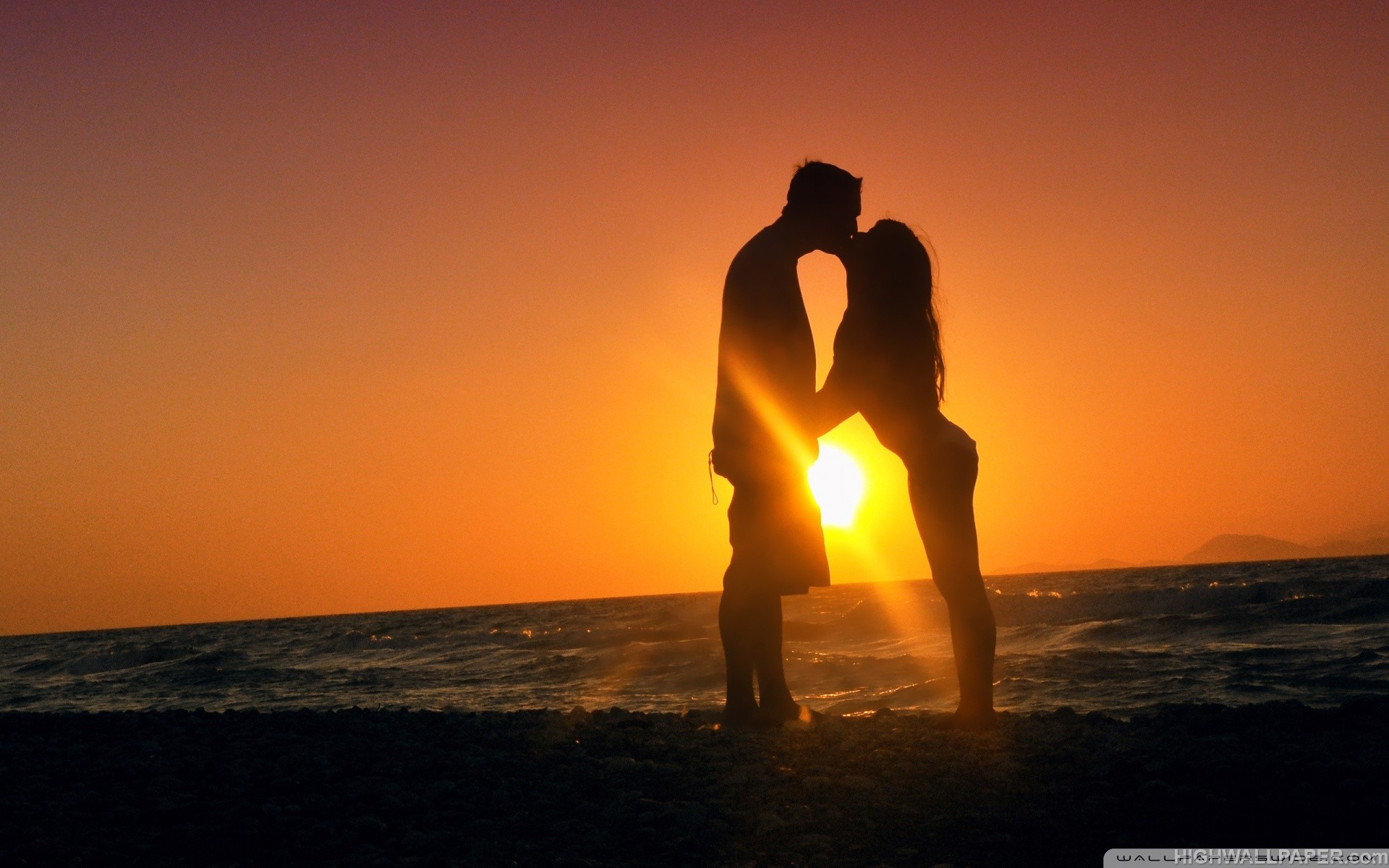 Girl Kiss Boy Sunset