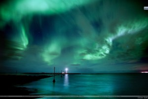 Green Clouds Light House At Sea Side