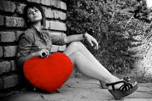 Grl with Red Heart in Hand