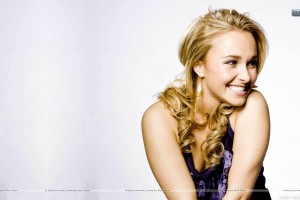 Hayden Panettiere Blue Dress And Laughing