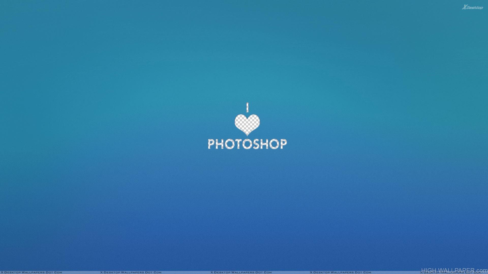 I Love Photoshop N Blue Background