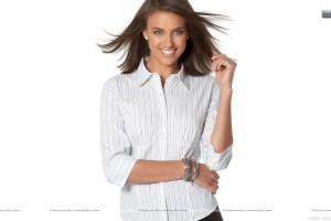 Irina Shayk Smiling in White Shirt