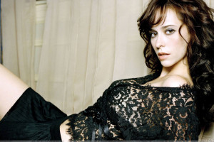 Jennifer Love Hewitt Laying Pose In Black Transparent Dress
