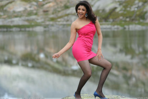 Kajal Aggarwal Dancing In Pink Dress And Transparent Stockings