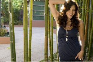 Katharine McPhee In Blue Top Laughing Photoshoot