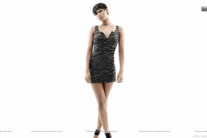 Keri Hilson Standing Black Stipe Dress