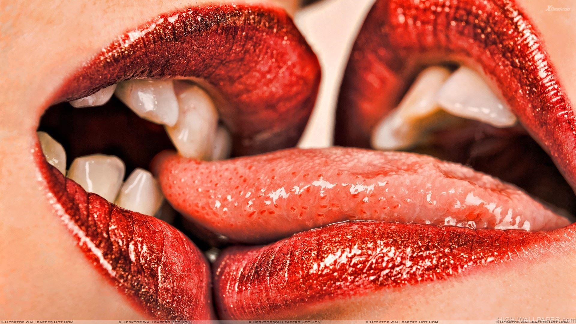 Kissing Shiny Red Lips Closeup