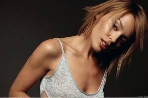 Kylie Minogue Hot Looking In Grey Top Photoshoot N Black Background