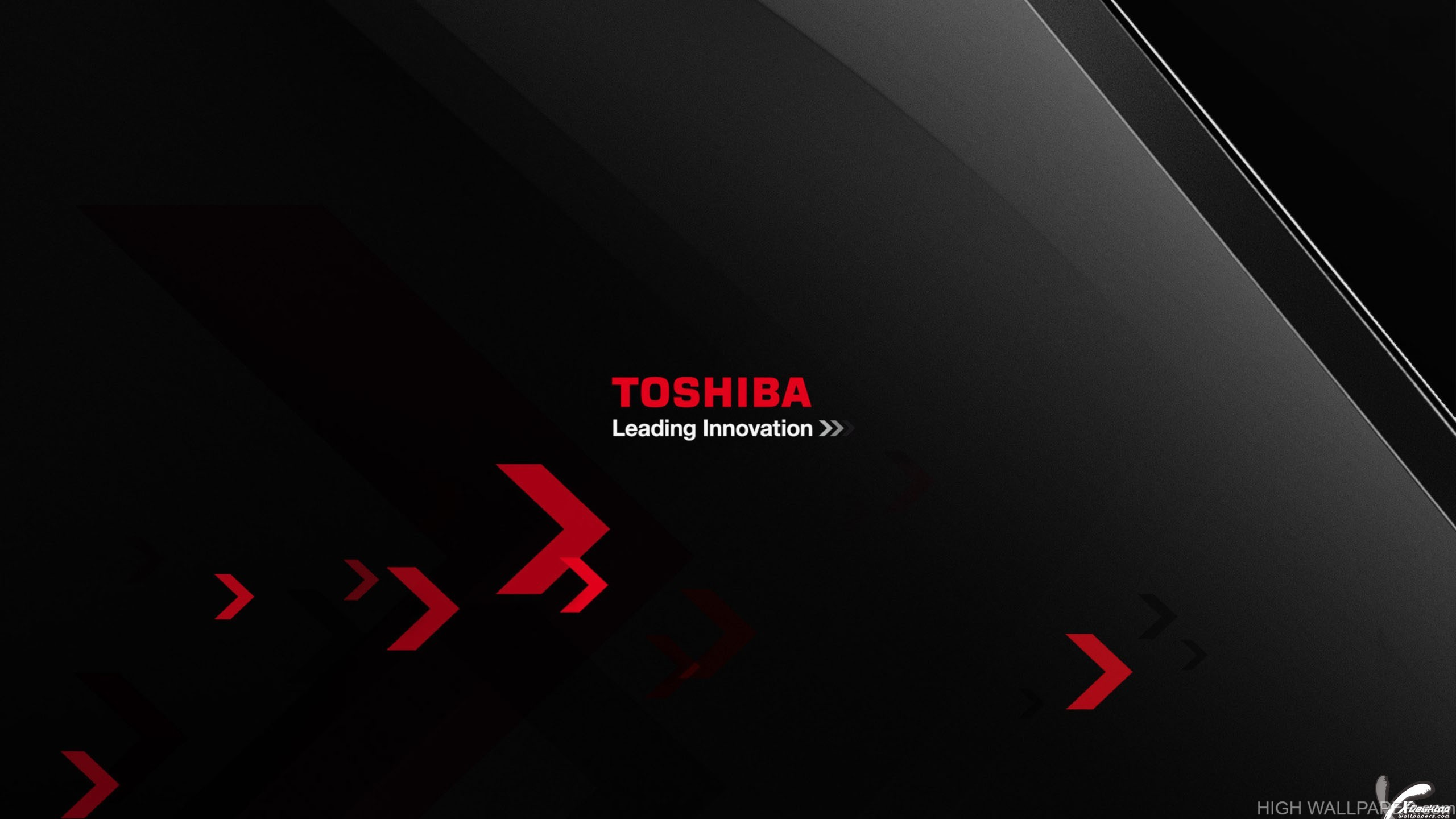 Logo On Black Backgroung Of Toshiba Leading Innovation
