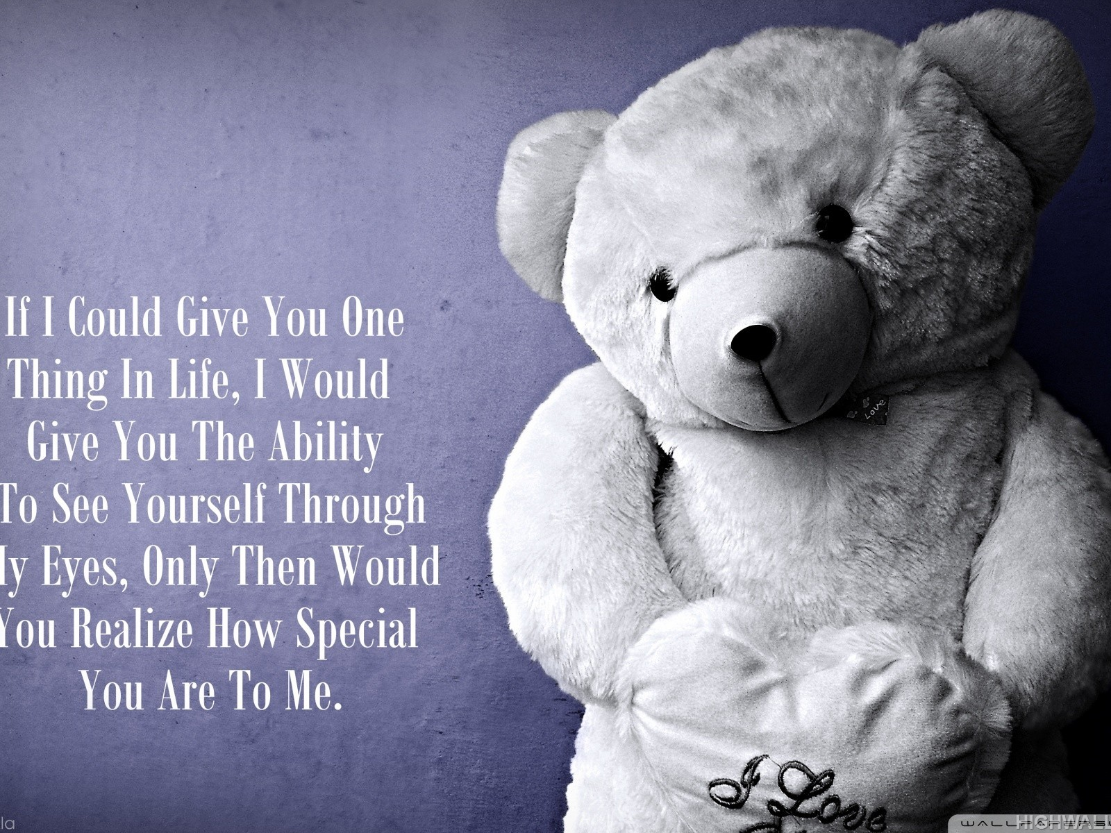 Love Teddy Bear Quote Hd Wallpaper