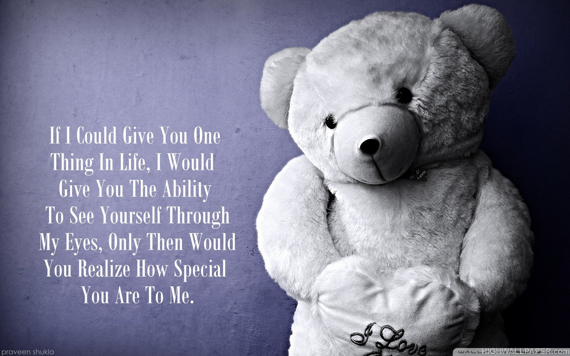 Love Quotes With Teddy Bear Images: Love Teddy Bear Quote HD Wallpaper