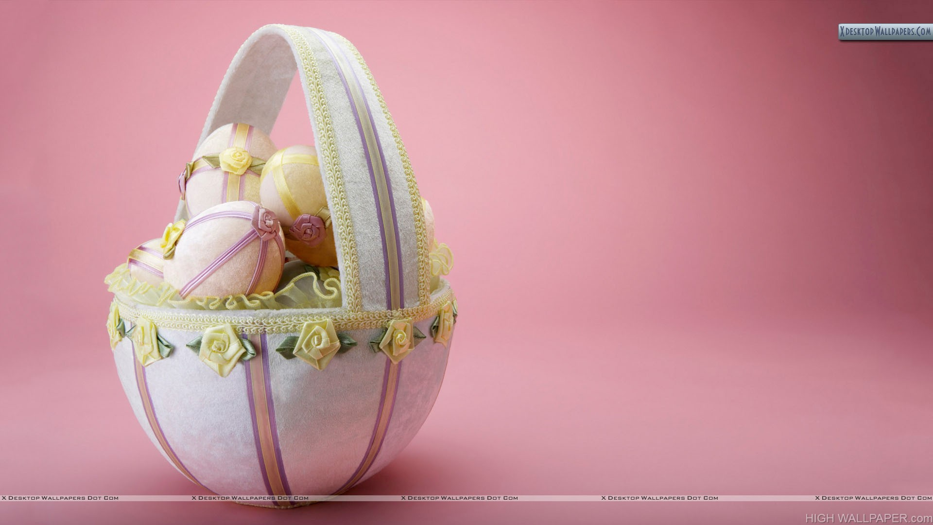 Lovely Basket With Pink Background