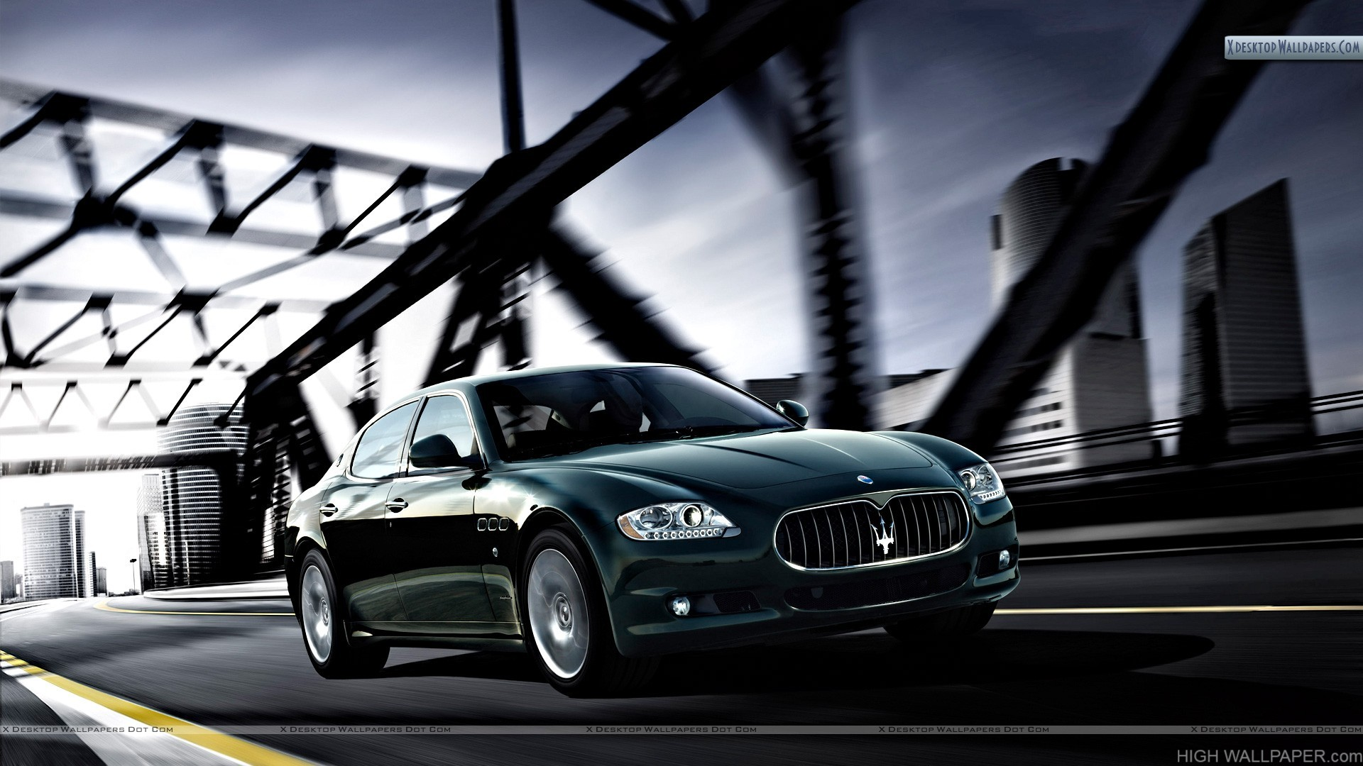 Maserati Quattroporte Running On Bridge