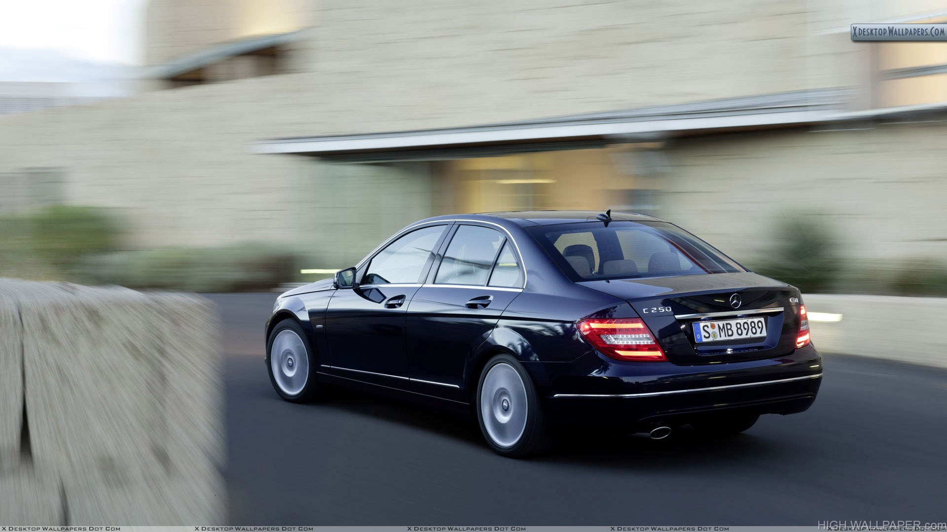 Mercedes Benz C Class C250 Side Back Pose On Highway Hd