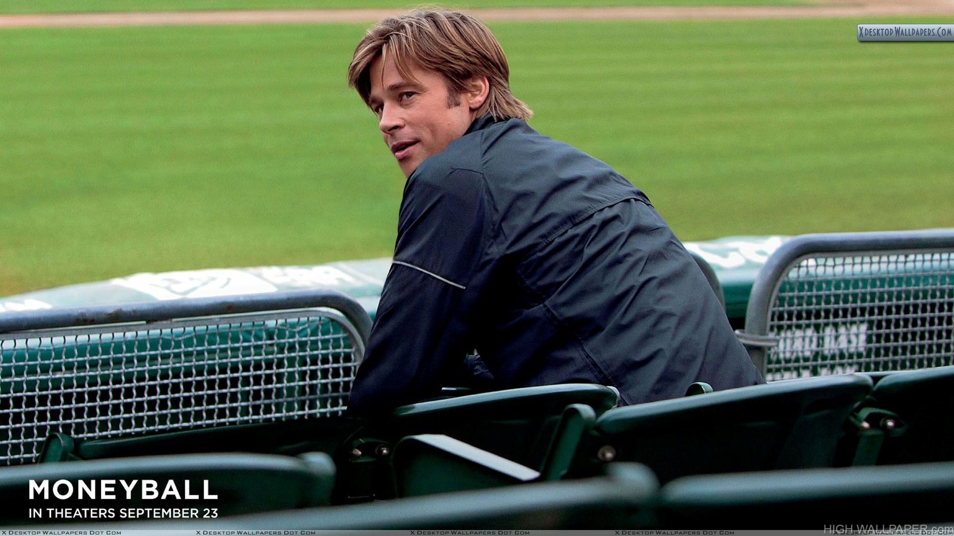 Moneyball Brad Pitt Sitting And Looking Back