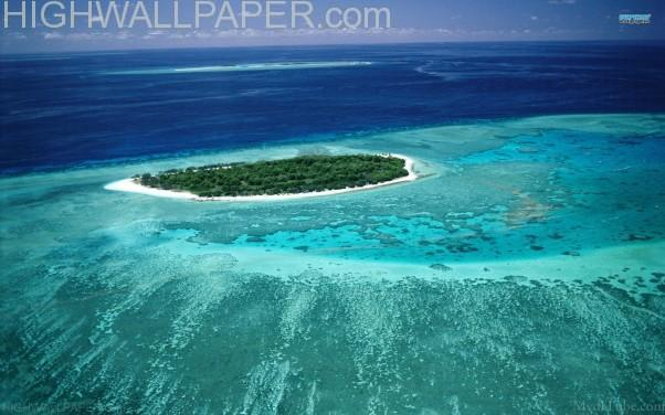 Green island in sea-602x376