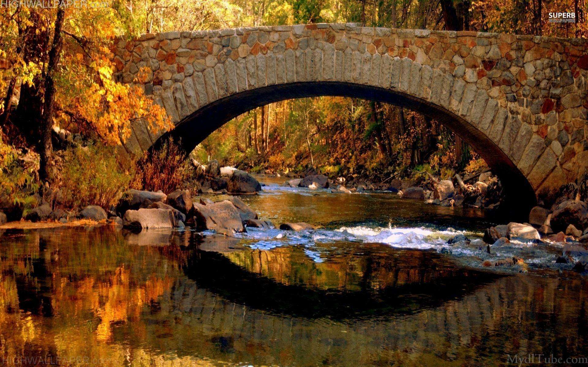 Stone bridge reflection