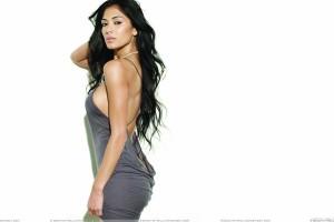 Nicole Scherzinger Looking Sexy In Grey Dress Side Pose Photoshoot
