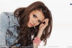 Nina Dobrev Sitting in Blue Jacket Pink Lips