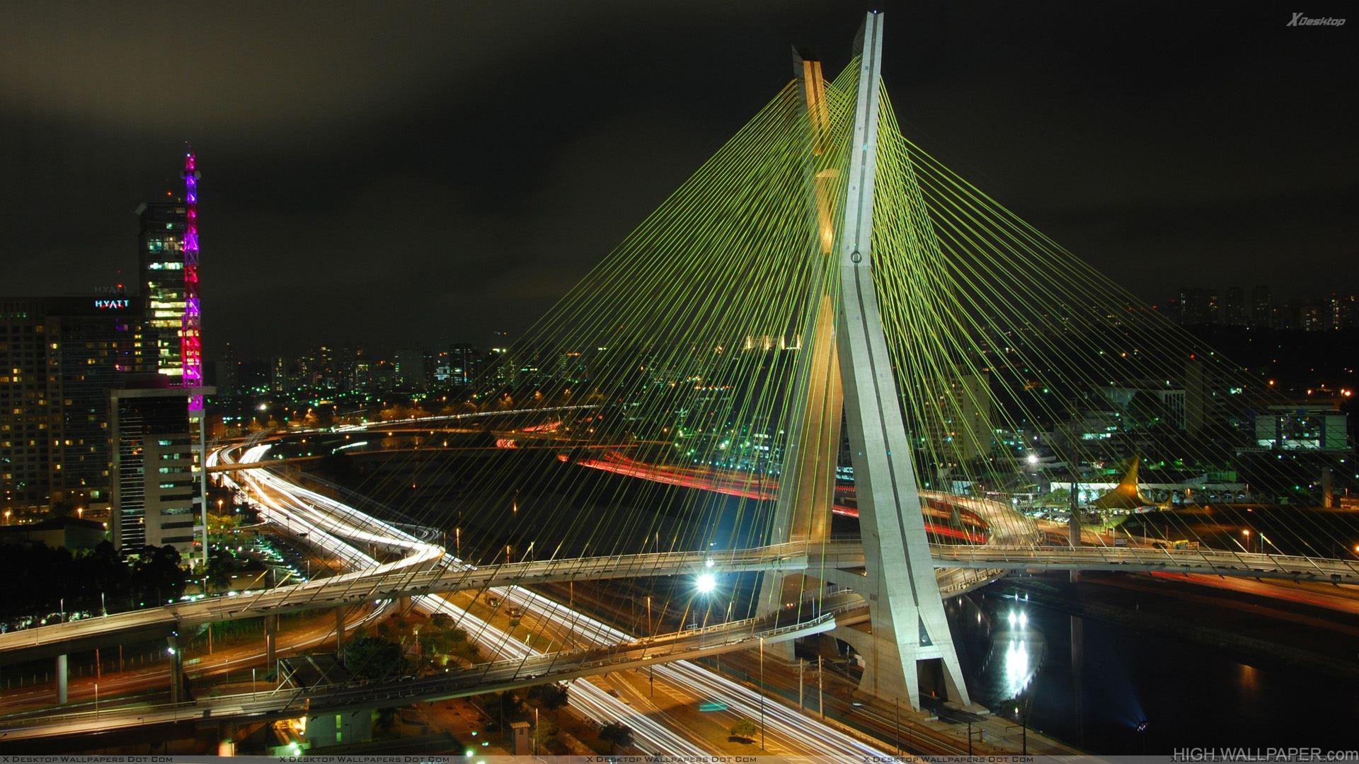 Octavio Frias De Oliveira Bridge In Night View