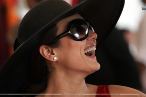 Preity Zinta Laughing Wearing Black Hat