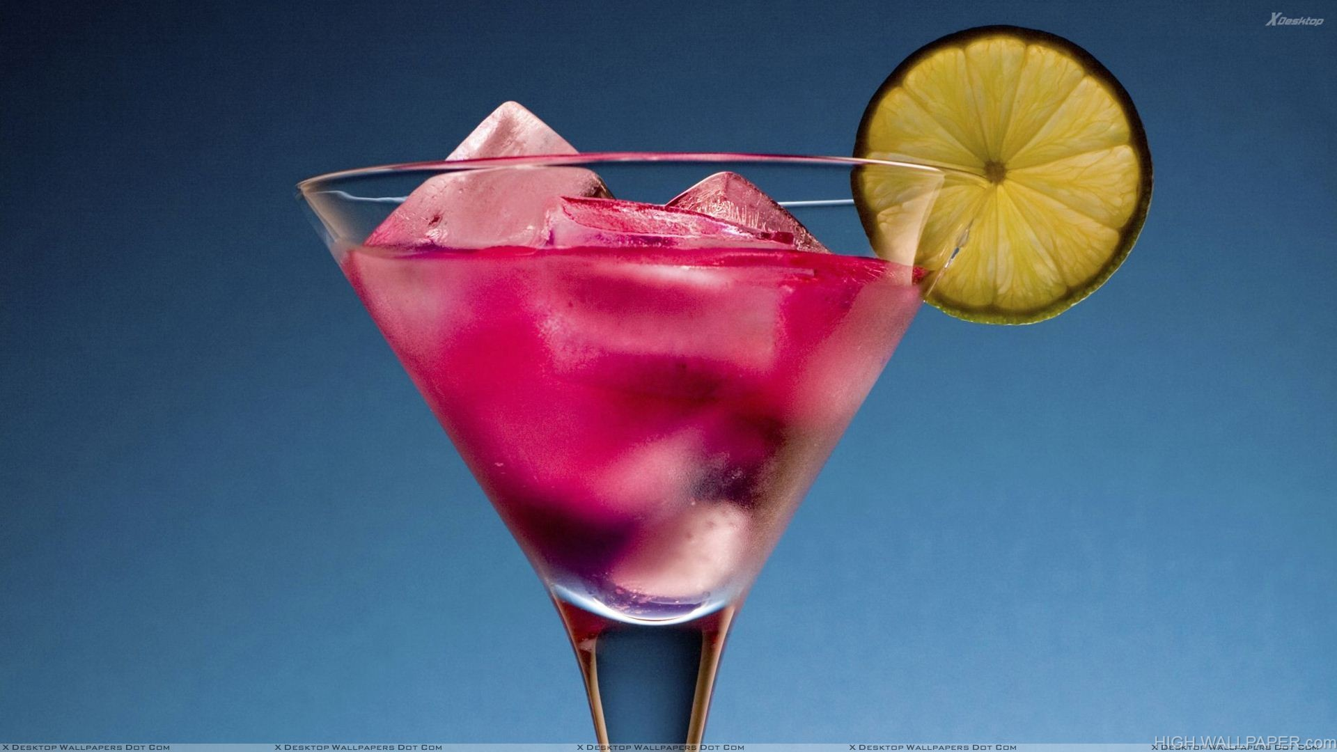 Purple Drink In Glass With Lemon