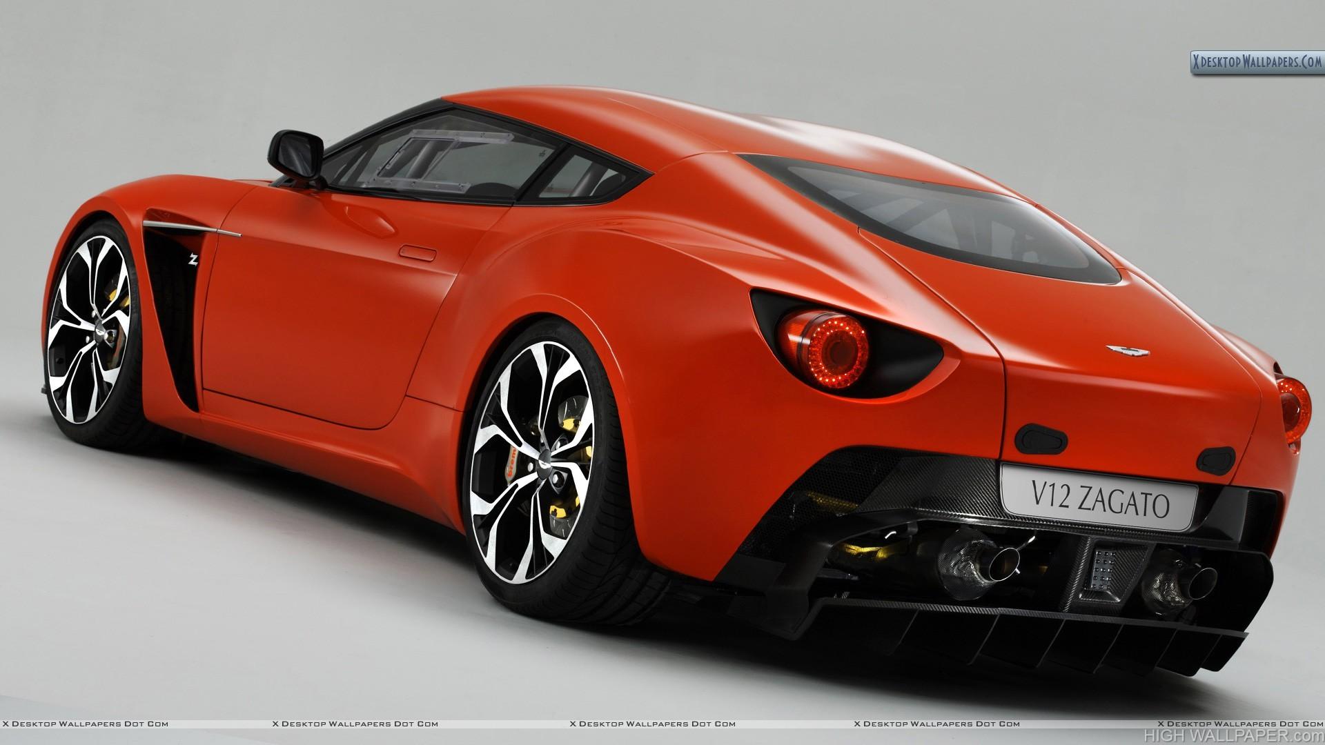 Red Color 2011 Aston Martin V12 Zagato Back Pose
