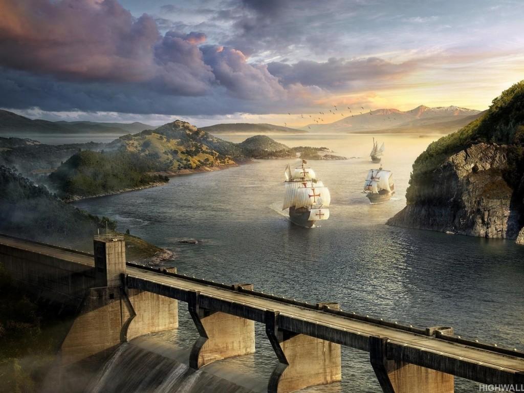 Sea and bridge fantasy hd wallpaper - Fantasy wallpaper bridge ...