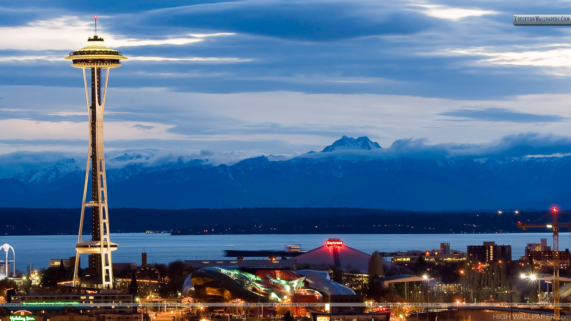 Seattle Space Needle At Evening In Usa