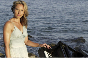 Severine Bremond Beltrame Looking Front At Sea Side In White Dress
