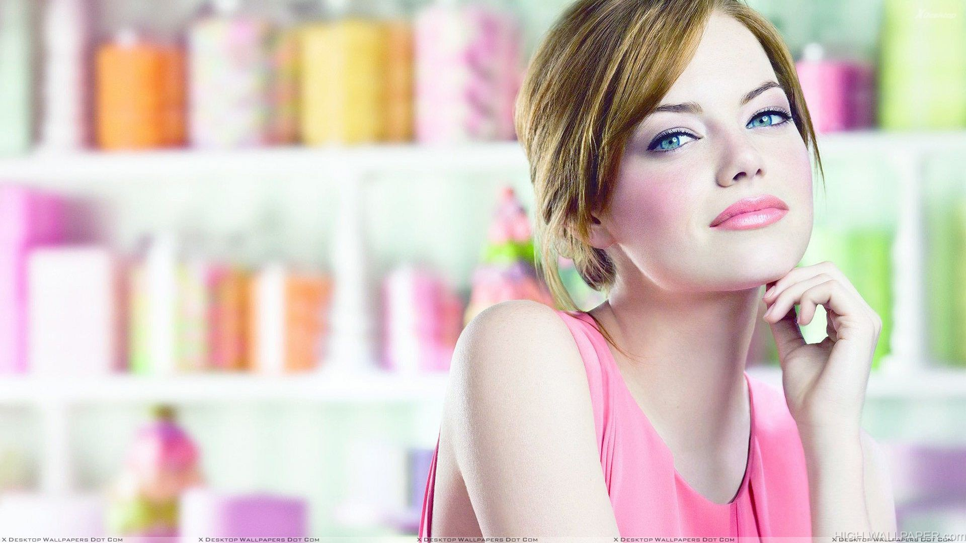 Sexy Emma Stone In Pink Dress And Lips