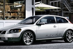 Side Pose Of 2010 Volvo C30 In White
