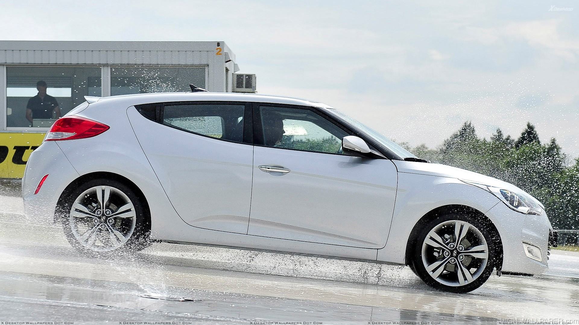 Side Pose Of 2012 Hyundai Veloster Coupe In White Hd Wallpaper
