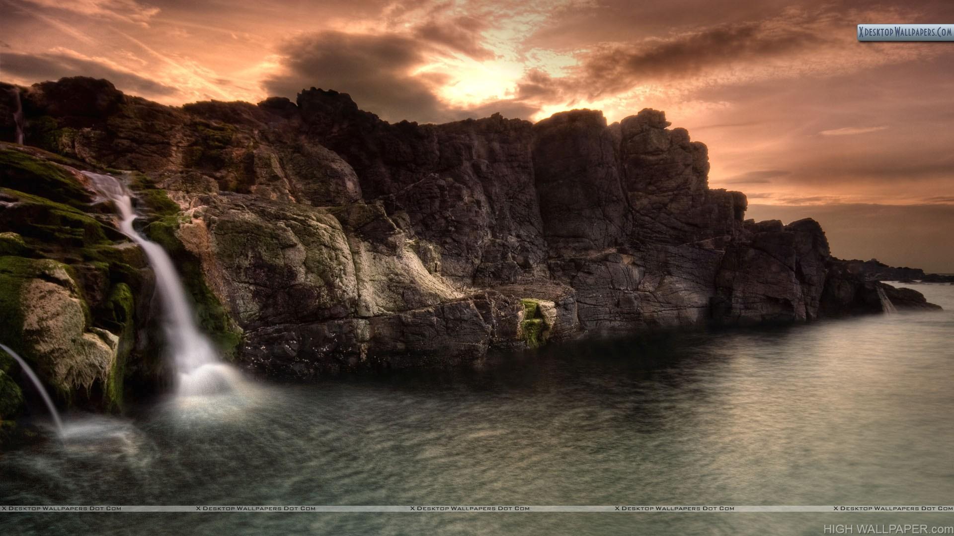 Small Waterfall Near Sea