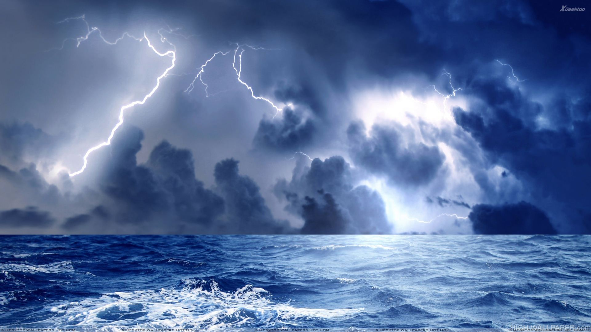 Storm And Blue Lightining At Sea