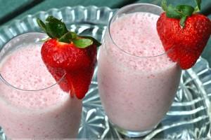 Strawberry On Milk Shake Glasses
