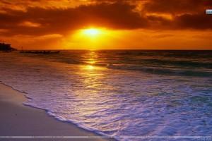 Sunrise Over the Caribbean Sea Playa del Carmen Mexico