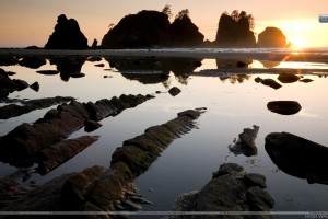 Sunset Over Point of the Arches Shi Shi Beach Olympic National Park Washington