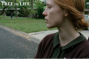 The Tree Of Life Jessica Chastain Side Face In Brown Dress