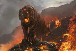 Tiger Made of Lava