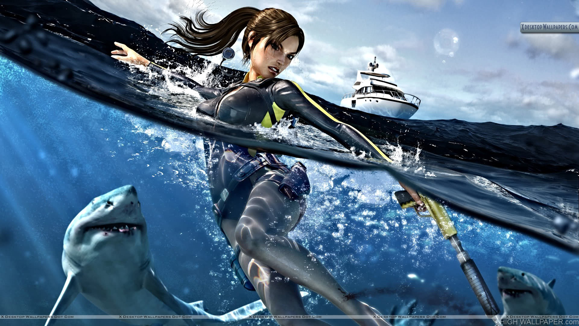 Tomb Raider Fighting with Sharks