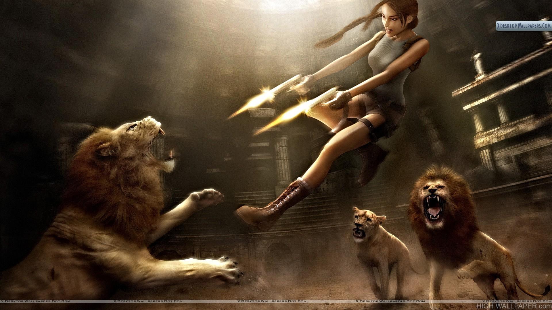 Tomb Raider Shooting Lions