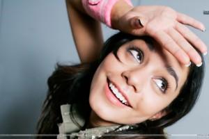 Vanessa Hudgens Hand On Forehead Smiling