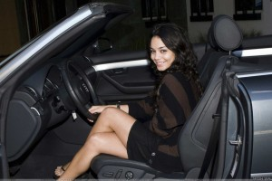 Vanessa Hudgens Smiling Side Sitting Pose In Car