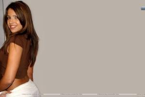 Vida Guerra In Brown Dress Side Back Pose Closeups