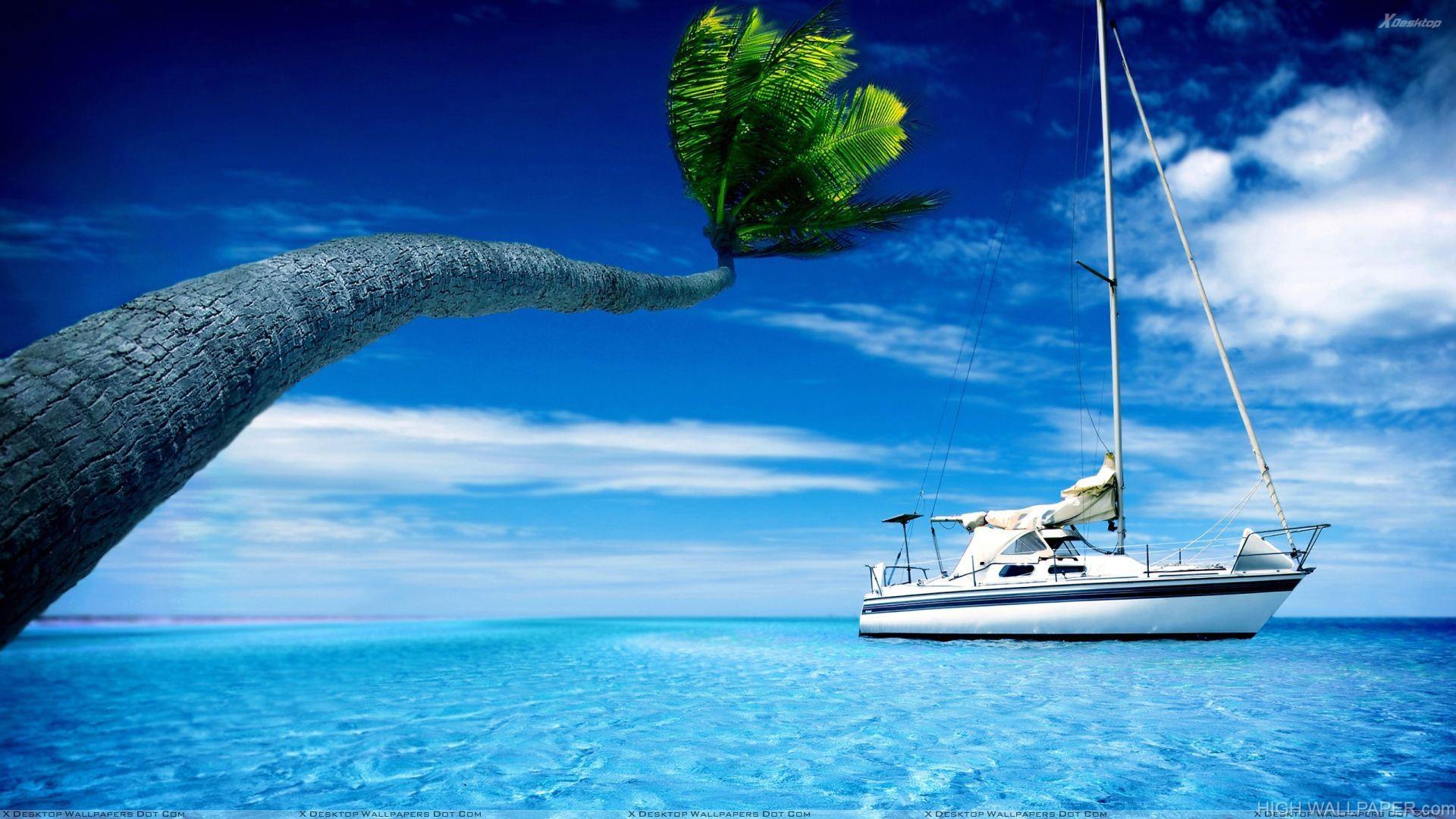 Yacht In Blue Sea